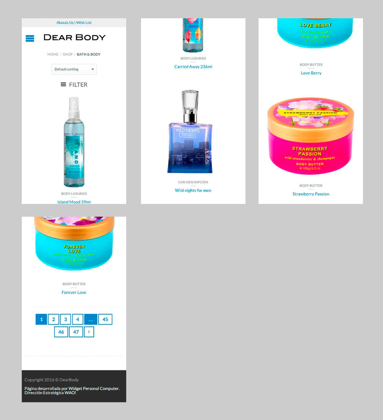 Dearbody - Product List Movil